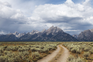 Road lead to Grand Teton