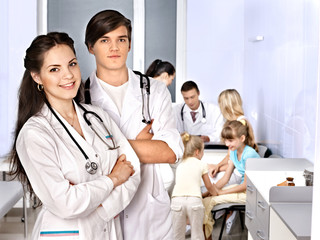 Medical examination of child.