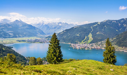 Beautiful landscape with Alps and lake, Zell am See, Austria Wall mural