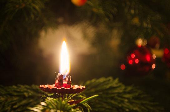Candle on christmas tree