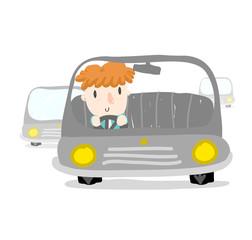 orange hair boy driving a car