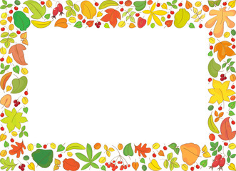 Rectangle backround with autumn leaves