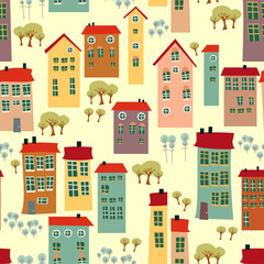 Doodle town houses seamless background
