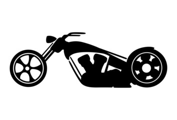 Wall Mural - Black motorcycle silhouette isolated on white background