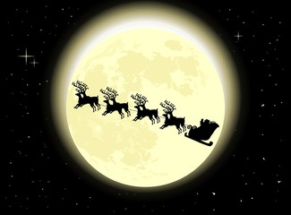 Holiday background with Santa's sleigh flying on the moonlight