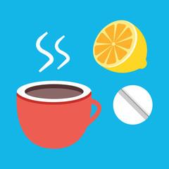 Vector Tea Lemon and Pill Icon