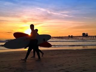 Surfers Sunset Oceanside Pier Beach San Diego California USA