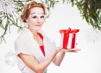 sexy woman with present