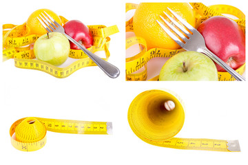 Dieting concept apple with measuring tape on white background