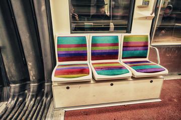 Interior of a Paris Metro train