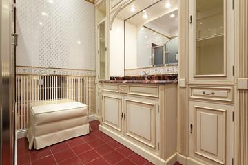 Interior of designer bathroom in classic style