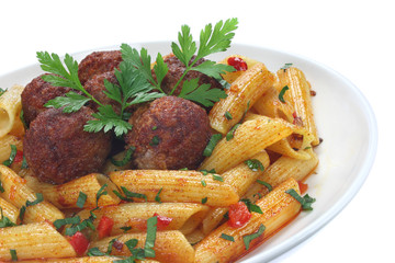 Fried pork meatballs with pasta