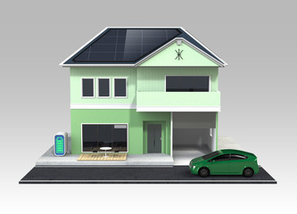 smart house with solar panels ,clipping path available