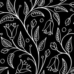 Fotorolgordijn Bloemen zwart wit Seamless floral pattern with bellflowers, white on black