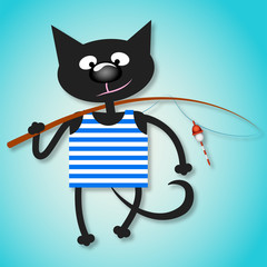Black cat with a fishing rod for the vector