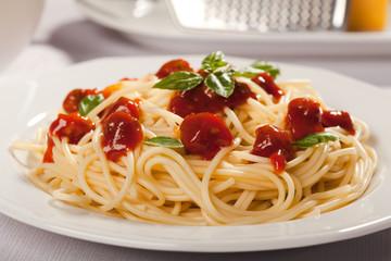 Spaghetti bolognese on plate