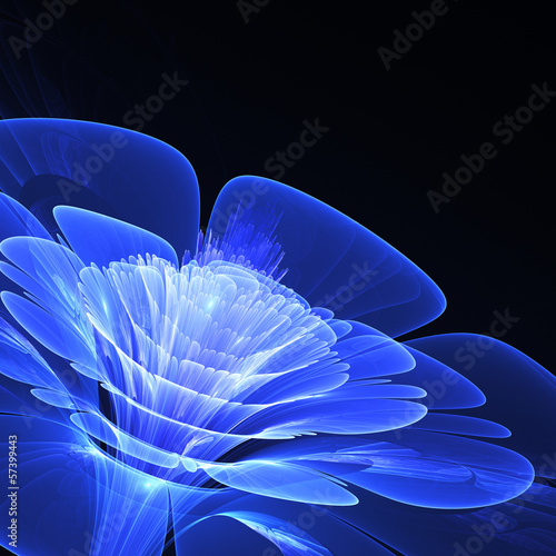 Wall mural 3D blue fractal flower with copy space