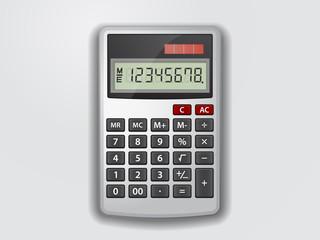 Realistic grey vector calculator