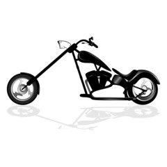 Fotomurales - Black motorcycle silhouette isolated on white background