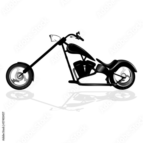 Fototapete Black motorcycle silhouette isolated on white background