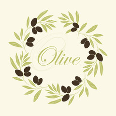 Vector decorative wreath olive branch.For labels, packaging