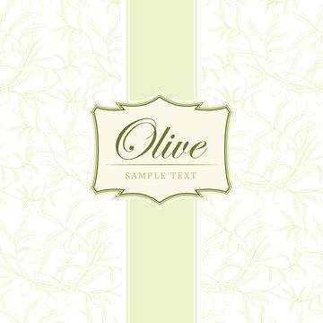 Vector olive oil.For label, pack. Olive pattern.