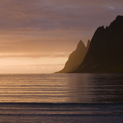 Rocks and sea at sunset, the island of Senja, Norway