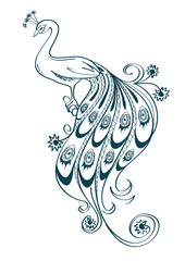 Illustration with stylized ornamental peacock