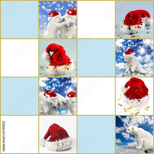 Geschenkanhänger Frohe Weihnachten.Frohe Weihnachten Geschenkanhänger Mit Nikolausmützen Stockfotos