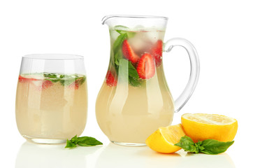 Basil lemonade with strawberry, isolated on white