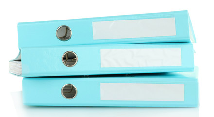 Blue folders, isolated on white