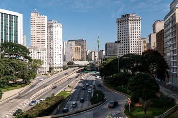 sao paulo city  traffic avenue