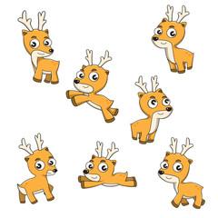 Set of deer cartoon