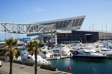 Docked yachts in Port Forum. Barcelona