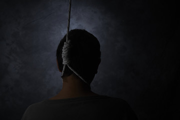 suicide, depressed man with a noose