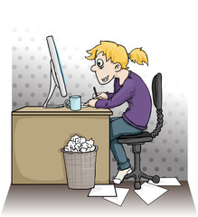 Girl working hard on a computer