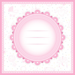 Baby Shower greeting card for Girl . Baby Equipment
