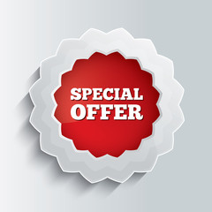 Special offer glass button. Vector illustration.