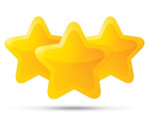 Three golden stars. Star icons on white.