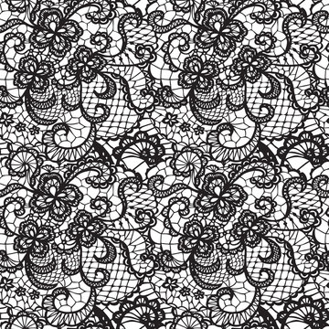 Lace black seamless pattern with flowers on white background