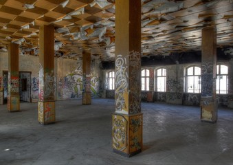 Wall Mural - Pillars in an old hall