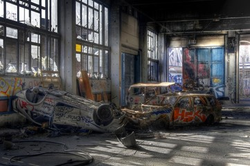 Wall Mural - Old cars in an abandoned hall