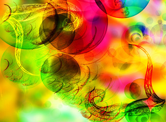 Bright background with fractals and patterns