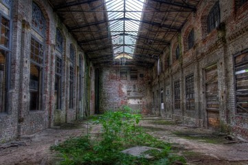 Wall Mural - Abandoned old factory hall
