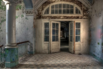 Canvas Prints Old Hospital Beelitz Old lobby in ab abandoned hospital