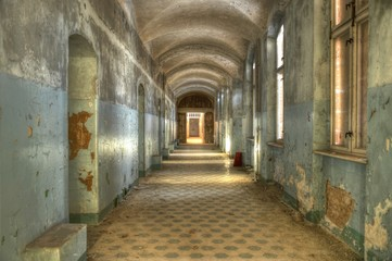 Canvas Prints Old Hospital Beelitz Old corridor in the beelitz heilstätten