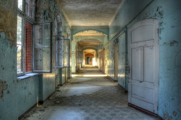 Canvas Prints Old Hospital Beelitz Corridor in beelitz