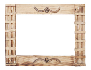 wooden frame is isolated on white background