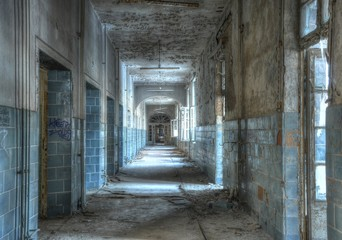 Wall Mural - Old corridor in a abandoned hospital