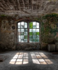 Old windows with sunbeam
